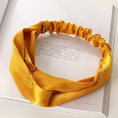 feixi Diademas de satén con nudo en la parte superior de la banda elástica para el pelo con estampado dulce, accesorios para el cabello a la moda (color: G)