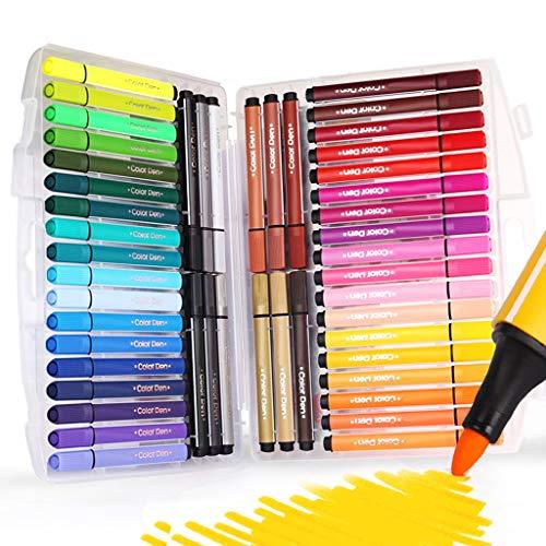Rotuladores de colores lavables de SAYEEC, 48 múltiples colores, no tóxicos y con base al agua, de punta fina y con estuche plegable, perfectos para libros de colorear adultos, cómics, manga, dibujo