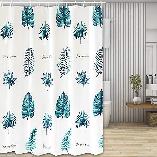 Nasharia douchegordijn, wasbaar badgordijn van polyester, waterdicht, anti-schimmel, antibacterieel met 12 douchegordijnringen, 180 x 200 cm Groene blad.