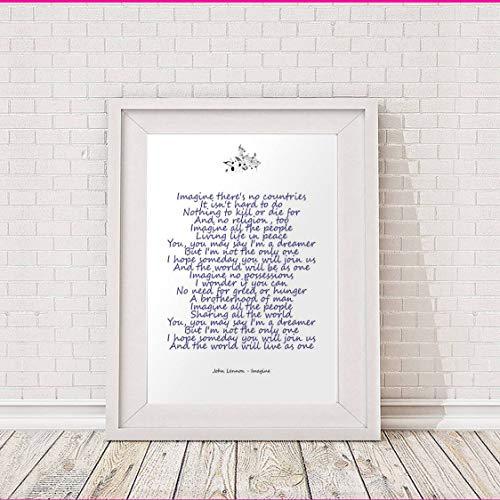 John Lennon – Imagine – Songtext – A3 Typografie-Poster Kunstdruck, limitierte Auflage
