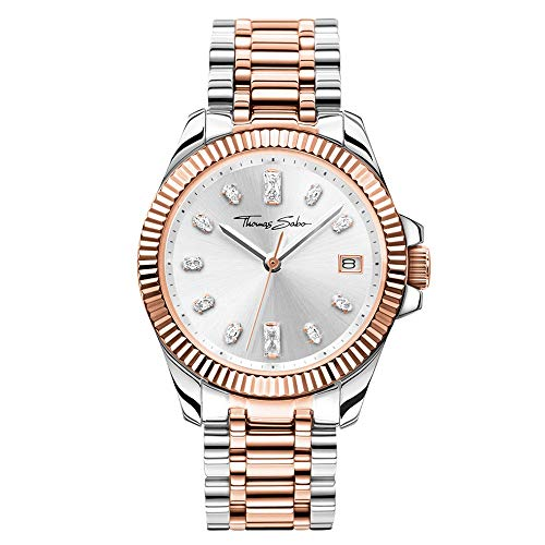 THOMAS SABO Damen Analog Quarz Uhr mit Edelstahl Armband WA0371-277-201-33 mm