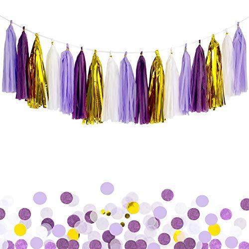 ANSOMO Purple Tissue Paper Tassel Garland Party Banner - 20 PCS (Purple/Lavender/White/Gold)
