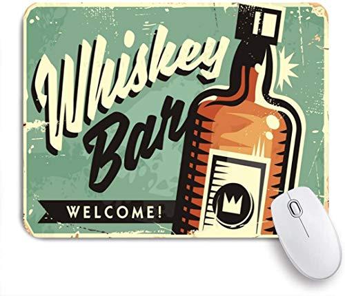 Benutzerdefiniertes Büro Mauspad,Old Welcome Whiskey Bar Werbeartikel Retro Food Drink Vintage Bourbon Pub Liquor Americana Plaque Rust,Anti-slip Rubber Base Gaming Mouse Pad Mat