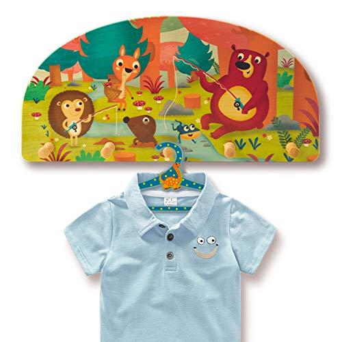 Dida - Porte-Manteaux Enfant – Animaux de la forêt - Porte Manteau Mural en Bois pour Chambres d'enfant et bébé