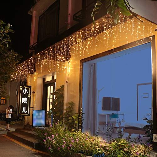 LED Lichtervorhang Eisregen Lichterkette 8 Modi Wasserdicht IP44 Innen Außen Mond Sterne Vorhang Lichter Für Weihnachten, Party, Hochzeit, Garten, Balkon Deko (15m, 600 LED)