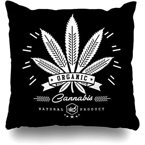 Fundas de cojín Ilegal Verde Aceite Marihuana Cannabis Gráficos Insignia abstracta Cáñamo...
