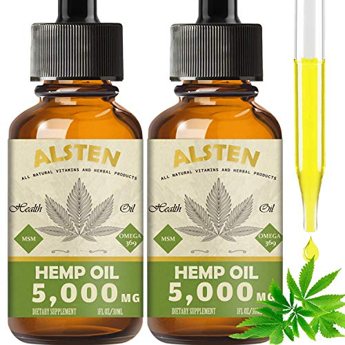 TOPNaturePlus 5000MG Hemp Oil for Pain Relief, Stress, Anxiety and Sleep- 2 pack Hemp Oil Drops