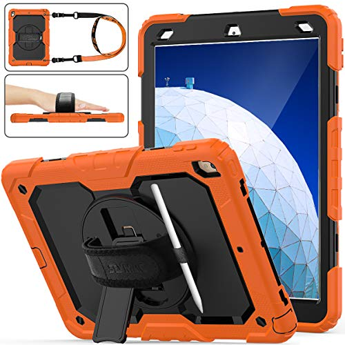 """iPad Air 3 Case 2019 / iPad Pro 10.5 Case 2017, SEYMAC Stock Three Layer Hybrid Drop Protection Case with (360 Rotating Stand) Hand Strap &(Pencil Holder) for iPad Air 3rd Gen 10.5""""/Pro 10.5 (Orange)"""