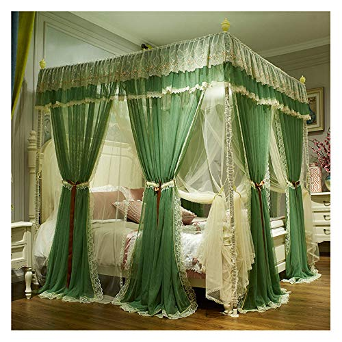 Girls Canopy Bed Netting Four Corner Column Curtain Bed Canopy Large 3 Opening Mesh Curtains for 1.5 2.2m Bed(Size:for 1.8×2.2m Bed)
