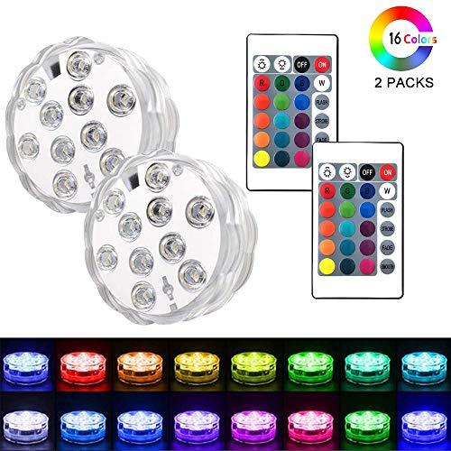 Piscina a LED con telecomando, Keyixing 2 confezioni Luci subacquee a fontana Luci a LED...