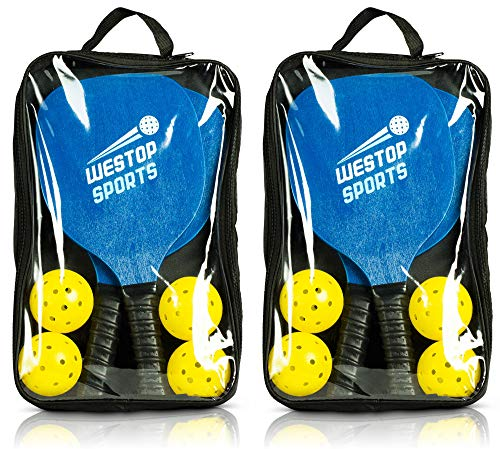Pickleball Paddles Set - Bundle Includes 4 Paddles, 8 Outdoor/Indoor Balls, 2 Paddle Bags - Wide Body & Upgraded Grip - Meets USAPA Specs - Best Set for Beginners - Includes eBook w/Rules and Tips