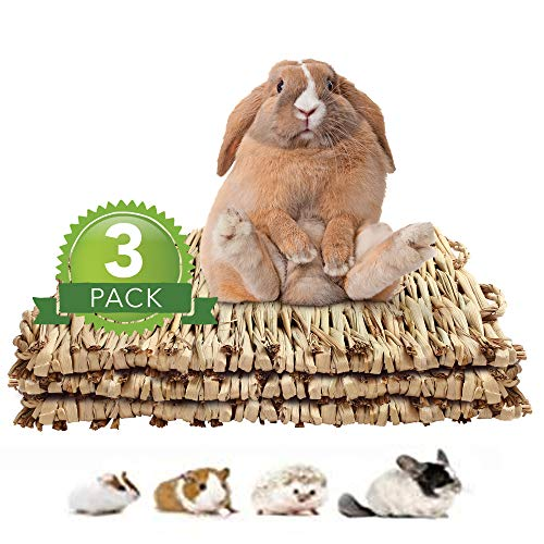 3Pack Rabbit Bunny Grass Mat, Woven Bed Mat for Small Animals, Natural Straw Bedding Nest Chew Toy...