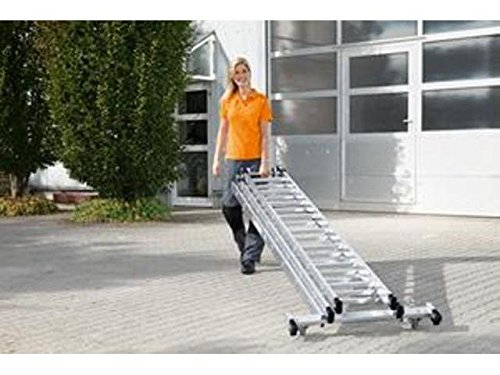 Multifunctionele aluminium ladder 3-delig met oprolbare rolbare transverse 3 x 12 sporten, werkhoogte tot ca. 9,70 m.