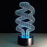 (Seulement 1) 3D Vision 7 changement de couleur veilleuses LED USB bureau Lampara luminaires tactiles créatifs Multi Luminaria de mesa lampe Gadget créative