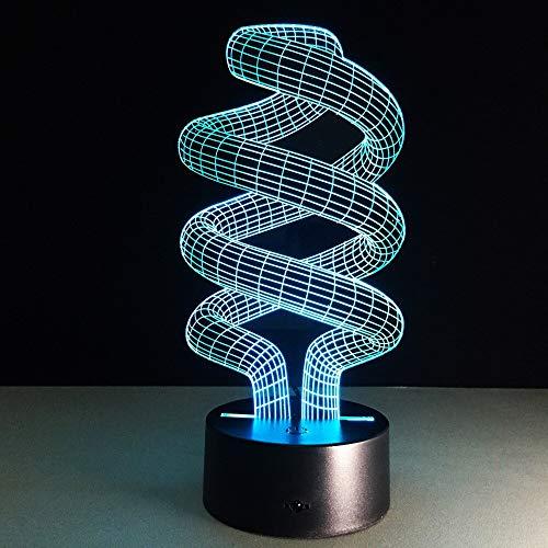 Lámpara LED visual 3D, forma de bombilla abstracta acrílica, atmósfera de luz nocturna 3D creativa, 7 colores, habitación, decoración del hogar