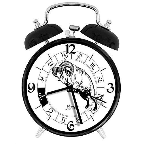 SanJIUCOM Reloj Despertador Digital Zodíaco Aries Rueda del Zodiaco con Doce Signos Salto Animal Arcaico Esotérico Adecuado para Estudio de Dormitorio de Oficina