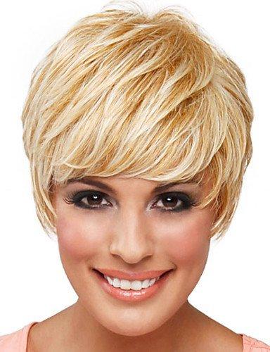 WJSW Perücke edle anmutige Frauen 'Real Natural Human Hair Monofilament Top (1') Kurze, gewellte, kappenlose Perücke