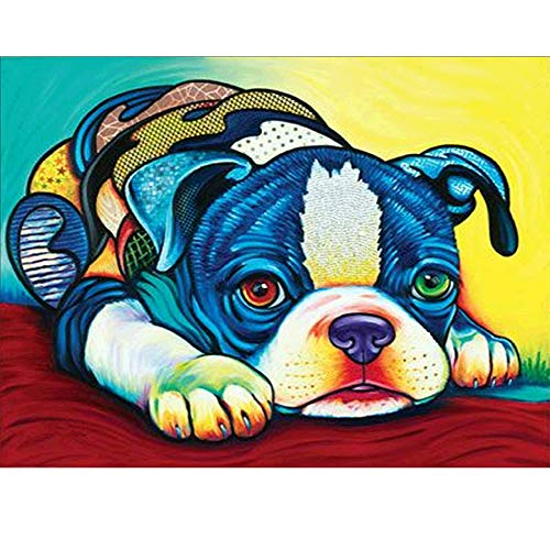 DIY 5D Diamond Painting by Number Kit,Colorful Dog Decor Paint by Sticker Rhinestone Embroidery Cross Stitch Kits Supply Arts Craft Canvas Wall Decor Stickers Home Decor 12x13 inches