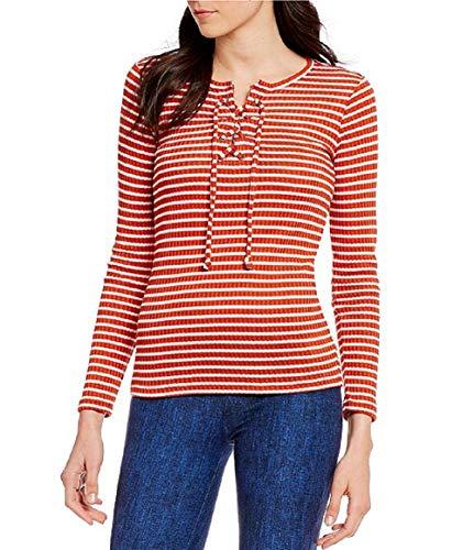 Michael Michael Kors - Camiseta de punto acanalada con cordones y cadena para mujer - Naranja - Small