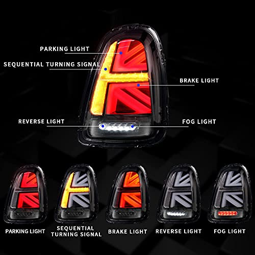 Full LED Tail Lights Assembly Compatible with Mini Cooper Hatchback One Hatch R55 R56 2007-2013 Union Jack Tail Light with Sequential Turn Signal Light, Tail Lamp Plug and Play(Clear Lens)