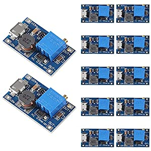 MT3608 DC to DC Step Up Boost Converter, Dealikee MT3608 with Mico USB DC Voltage Regulator Adjustable Step Up Boost Converter Power Voltage 2V-24V to 5V-28V 2A (Pack of 12)