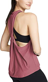 Mippo Womens Racerback Tank Top Loose Pleated Flowy Tops Twist Back Shirt with Big Armhole
