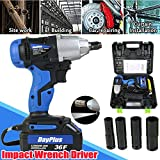 1/2 Inch Impact Wrench Gun Electirc Driver Square 18V 4 Sockets Rechargable Battery