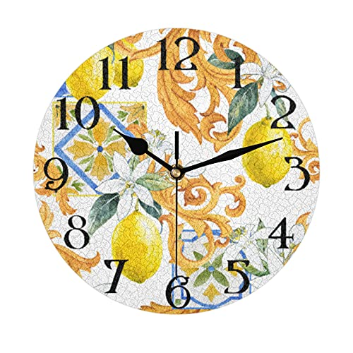 Lerous Non Ticking Round Wall Clock, Sicilian Lemon Floral Silent Clock and Easy Read for School Office Home Kitchen Bathroom Living Room Decor 30CM