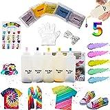 imoli tie dye kit - 5 colori al neon vernici per tessuti permanenti, set tintura tie-dye per bambini, adulti, moda fai-da-te(5 bottiglie di tintura e pacchetti di colorante)
