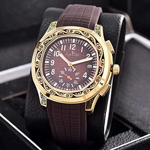 HHBB Marca de lujo hombres automático mecánico oro amarillo tallado antiguo doble tiempo negro caucho zafiro deporte reloj Aaa+ café
