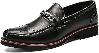 Ranipobo Carving Shoes for Men Microfiber Leather Business Dress Wedding Fashion Loafers Two Tones Metal Anti-Slip Flat Slip-on for Men (Color : Black, Size : 6.5 UK)