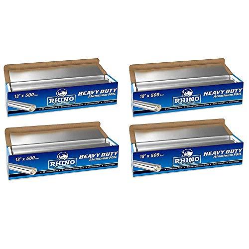 Best Deals! Rhino Aluminum Heavy Duty Aluminum Foil | Rhino 18 x 500 Foot Long Roll, 25 Microns Thic...