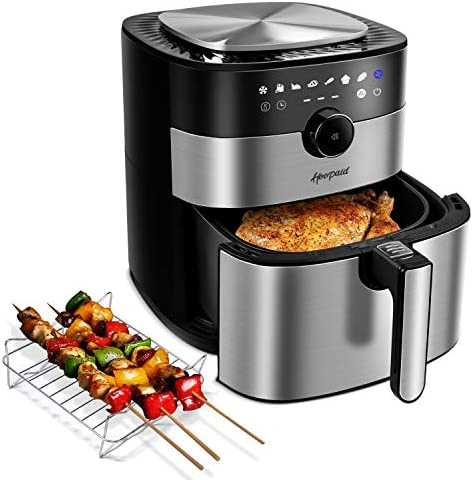 Hoepaid Air Fryer No Oil Stainless Steel Oven with 5 6QT Capacity Non Stick Basket and Rack product image