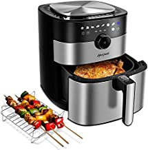 Hoepaid Air Fryer, No Oil Stainless Steel Oven with 5.6QT Capacity, Non-Stick Basket and Rack Included, 1750W, Touch Screen and Knob, 8 Preset Modes, Black
