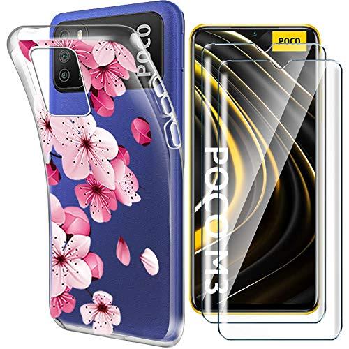 """HYMY Cover per Xiaomi Poco M3 (6.53"""") + 2X Pellicola Protettiva - Morbida Trasparente Silicone Bumper Case TPU Protettivo Copertura Custodia 9H Vetro temperato, Pink Flower"""
