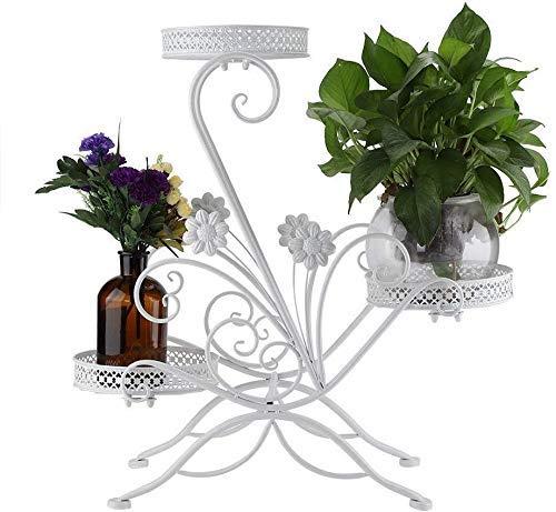 YBB-YB YankimX - Soporte para flores de 3 etapas de hierro para el salón interior y el balcón en el expositor interior