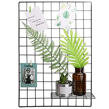 Hosal Black Metal Grid Panel, Wall Sculptures Photo Craft Display Panel,Sculptural Frames & Holders Wall Decoration & Organization,2 Pcs/Set,Size:25.6  x 17.7