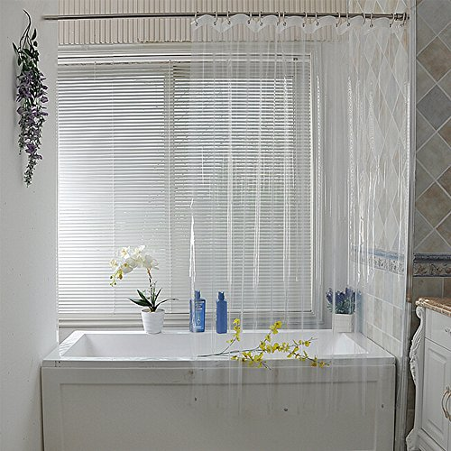 Eforcurtain Clear PEVA Shower Curtain Liner with Magnets Waterproof for Hotel, 70x70 Inches