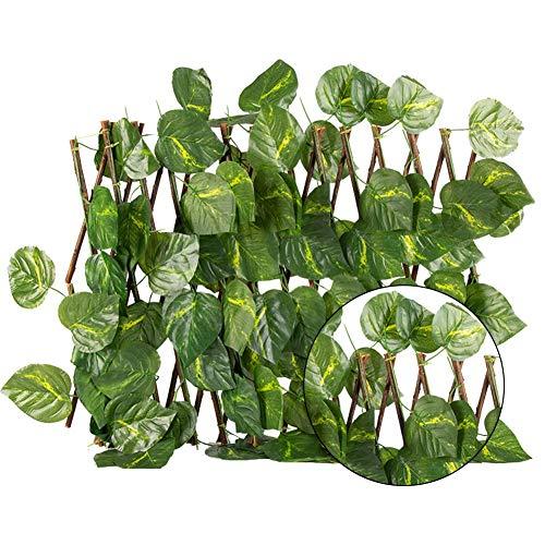 Adminitto88 Sichtschutzhecke Gartensichtschutz Künstliche Hecke Hängepflanzen Efeu Rebe Wand Pflanzenwand Efeublätter, hohe Blickdichte, kunststof dekorative einziehbare Zaun für Outdoor-Garten Dekor