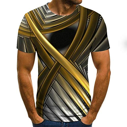 WAZA Men's Abstract Graphic Plus Size T-Shirt Pleated Print Short Sleeve Weekend Tops Streetwear Round Neck Gold/Summer