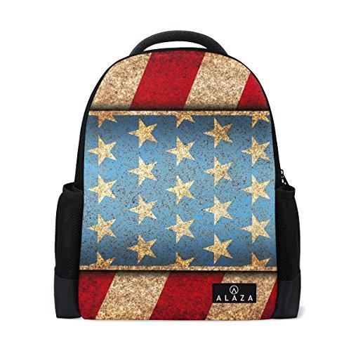 MyDaily American Stars Stripes Independent Day Rucksack 14 Zoll Laptop Daypack Bookbag für Reisen College Schule