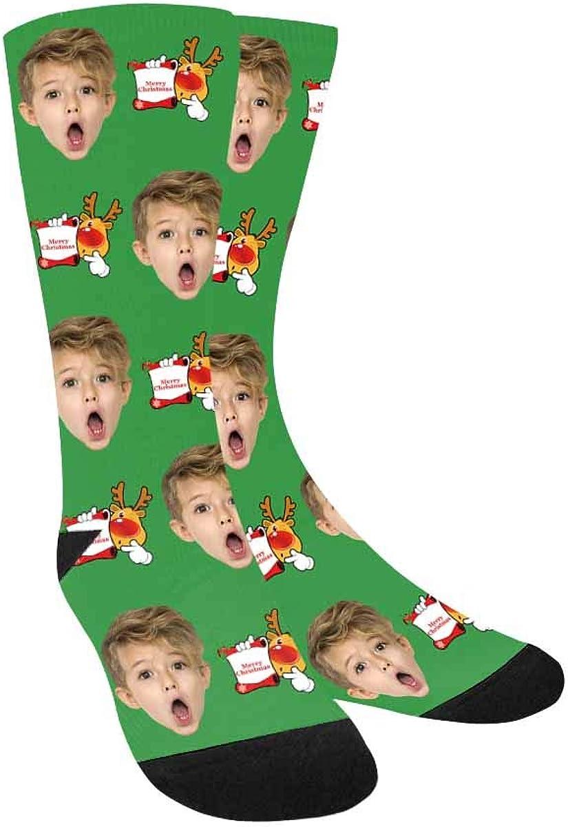 Personalized Photo Printed Crew Socks Christmas Reindeer Put You