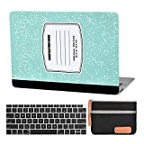 MacBook air 13 Inch Case A1932 Composition Laptop Hard Shell Cover Sleeve Matte Rubberized (2020 2019 2018 Release, Touch ID) with Silicon Keyboard Cover and Small Pouch (Turquoise Notebook)