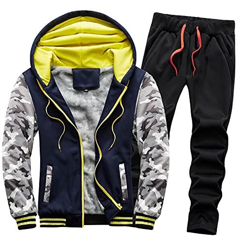 URIBAKY - Disfraz de camuflaje para hombre, talla grande, chaqueta de cazadora gruesa, ms gruesa, ms terciopelo, Azul oscuro., XL
