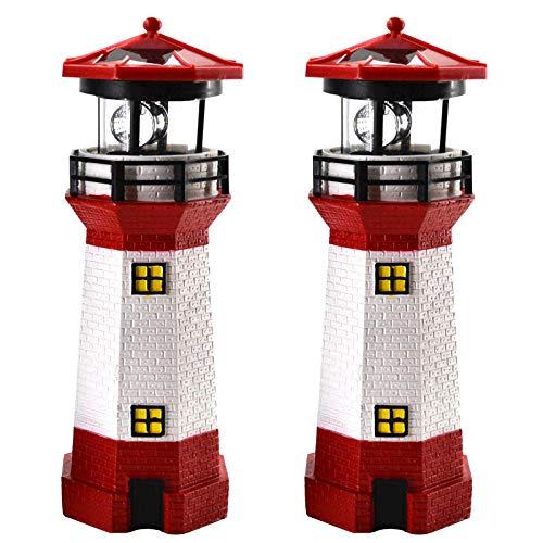 2er Set LED Solar Leuchtturm 28 cm Garten Deko Leuchtfeuer Rot Weiß Gartendeko Beleuchtung Mit Dämmerungssensor Solarbeleuchtung Gartendekoration