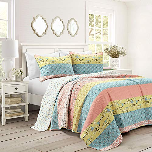 Lush Decor, Blue and Coral Royal Empire Quilt Striped Pattern Reversible 3 Piece Bedding Set, Full Queen