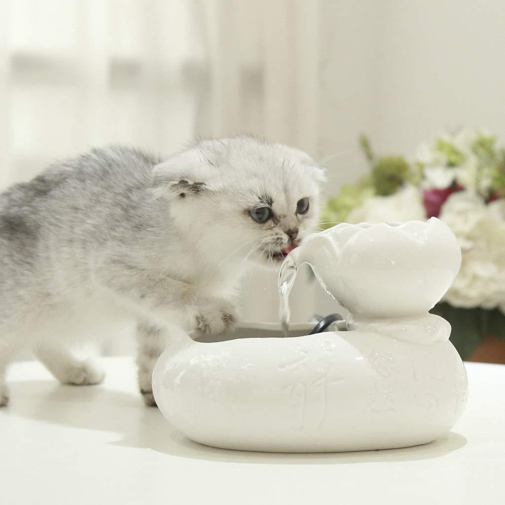 IMDOU - Fuente de cerámica para Mascotas, circulación automática, dispensador de Agua para Gatos, Bomba ultrasilenciosa y Filtro de carbón portátil, Hace Que los Gatitos Sean más como: Amazon.es: Productos para mascotas