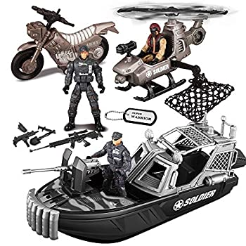 JOYIN 9 Pcs Combat Boat and Military Vehicle Toys Set with Realistic Military Combat Boat Mini Helicopter Motorcycle Army Men Toy Soldiers Action Figures and Other Equipment Accessories