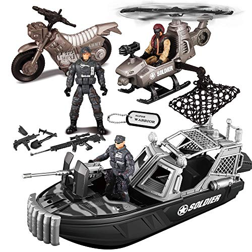 JOYIN 9 Pcs Combat Boat and Military Vehicle Toys Set with Realistic Military Combat Boat, Mini Helicopter, Motorcycle, Army Men Toy Soldiers Action Figures and Other Equipment Accessories