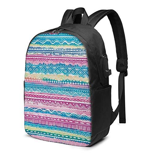 Laptop Backpack with USB Port Tie Dye Effect Artwork Stripes, Business Travel Bag, College School Computer Rucksack Bag for Men Women 17 Inch Laptop Notebook